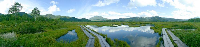 尾瀬ヶ原から燧ケ岳を望む。